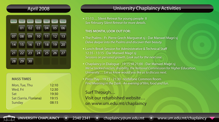 Chaplaincy Programme for Apr. 08