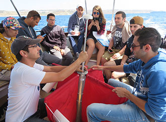 Students following M.Sc. in Applied Oceanography on fieldwork activity