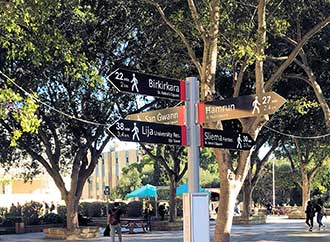 Directional signs to different locations