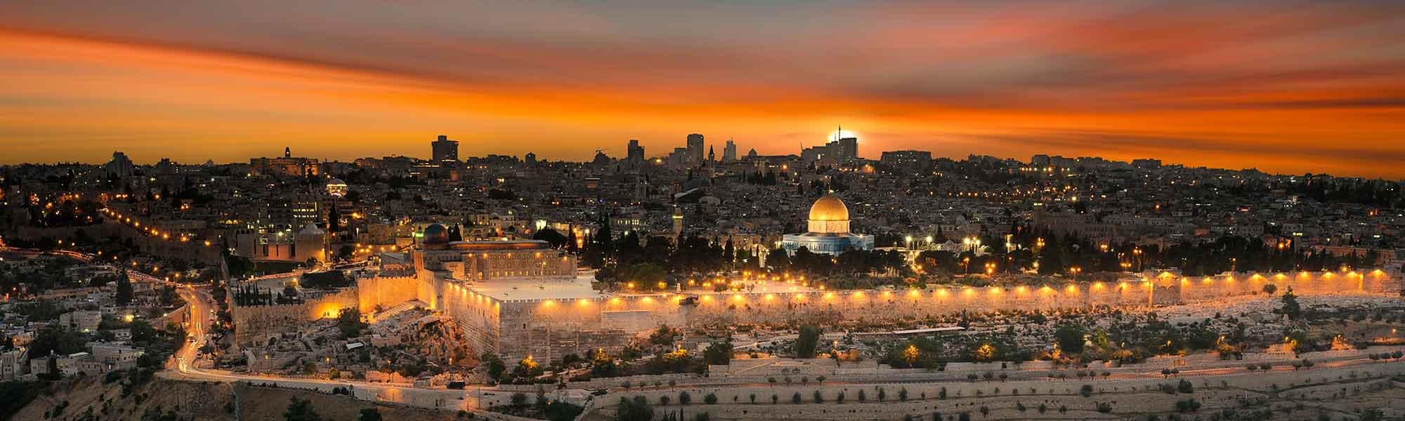 View to Jerusalem old city at sunset - Israel