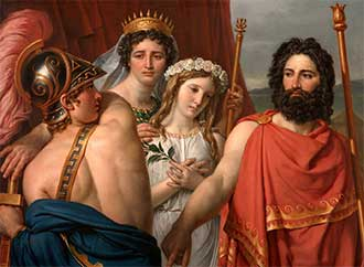 Jacques-Louis David, The Anger of Achilles, 1819, Oil on canvas, 41 7/16 x 57 1/16 in. (105.3 x 145 cm), Framed: 52 1/4 x 68 x 4 in. (132.7 x 172.7 x 10.2 cm), AP 1980.07 Courtesy of Kimbell, Art Museum, Fort Worth, Texas