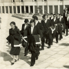 Procession of graduates (during the 1970s) on campus