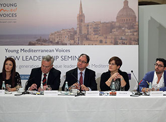 H.E.. The President of Malta and the panel of speakers during the event